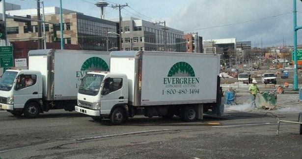 Evergreen Concrete Cutting trucks